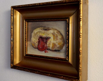 Still Life Oil Painting of a Jelly Donut