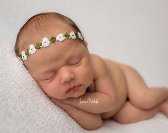 White Green Flower  Newborn Headband,Baby Girl White  Headband , Newborn Photo Prop Headband