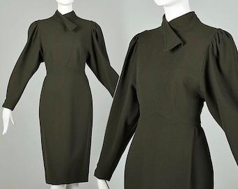 Large Oscar de La Renta Pencil Dress Long Sleeve Green Wool Dress Vintage 1980s 80s Office Work Dress