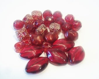 Burgundy Pomegranate Beads Jewelry Making Supplies Wine Maroon