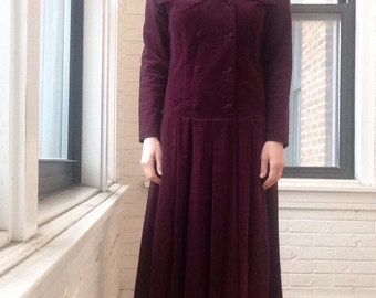 1980s Laura Ashley Corduroy Dress with Sailor Collar