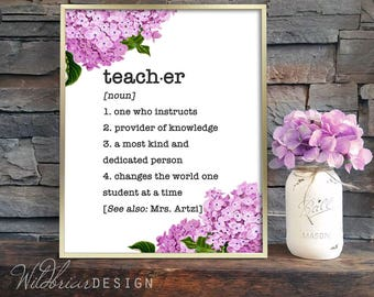 Custom Gift Printable Wall Art, Teacher dictionary definition personalized with teacher's name, pink floral hydrangea
