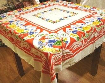 Dutch children in tulips souvenir tablecloth colorful excellent vintage