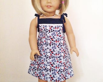 "Doll and me matching Fourth of July dresses.  American girl dress.  18"" doll dress.  Girls dress"