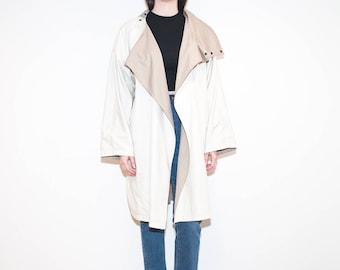 80s beige asymmetrical trench coat / cream reversible draped spring jacket / size XL