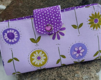 Purple Floral Checkbook Cover, Purple Coupon Wallet