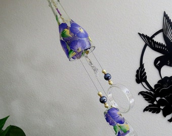 Glass Wind Chime, Recycled wine bottle wind chime, Flowers, Purple, Yellow, Sun catcher, yard art, clear glass, House warming gift