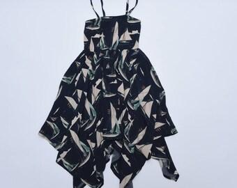 Girls dress, girls sailboat print dress, girls summer dress, cotton dress, infant clothing, kids clothing, girls clothing, girls dress