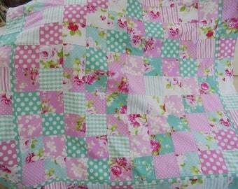 handmade patchwork quilt, patchwork throw, baby blanket, fleece backed blanket