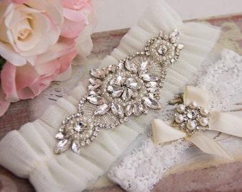 Ivory Tulle Wedding Garter Set, Bridal Garter, Ivory Wedding Garter Set, Bridal Garter Set, Rhinestone Wedding Garter Set, Crystal Garter,