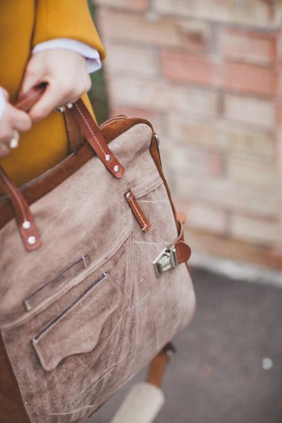 Brushed Leather Messenger Bag, Leather Vertical Laptop Bag, Unisex Leather Bag, Zippered Leather Bag, Man Leather Bag