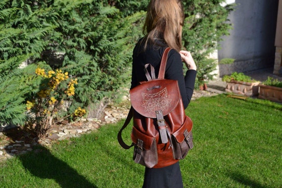 Leather Emroidred Backpack,Full Grain leather Back Pack,Owl Eboidred Leather Backpack,Travel Bag,Overnight Bag, School Bag,Student Bag,Leath