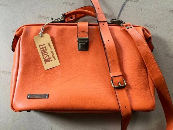 15 inches Woman Leather Briefcase, Woman Handbag, Woman Leather Bag, Orange Leather Bag, Handmade Leather briefcase, Leather Messenger Bag,
