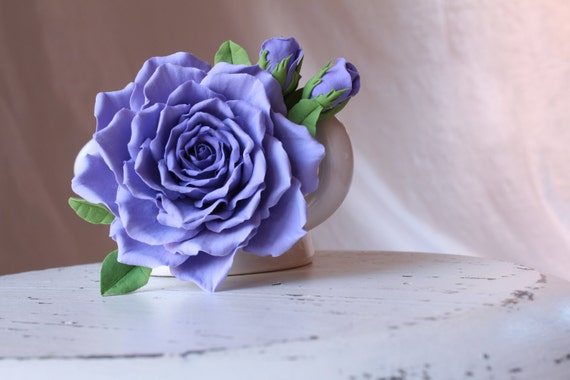 Brooch. Purple rose with buds. Polymer clay flower.