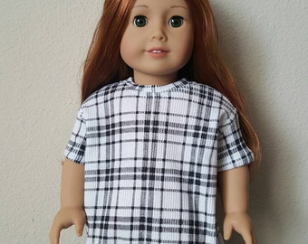 Black and White Plaid Oversized Tshirt Dress for 18 inch dolls by The Glam Doll