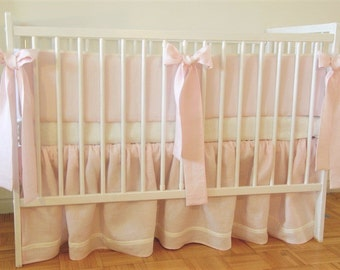 Girl Crib  bedding -  3 pcs:  skirt, bumper  and  sheet-  pink linen crib bedding