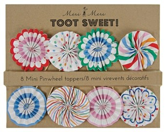 Toot Sweet Spotty Mini Pinwheel Cupcake Toppers | Meri Meri | Striped Cupcake Toppers | Carnival Birthday | Circus Birthday | First Birthday