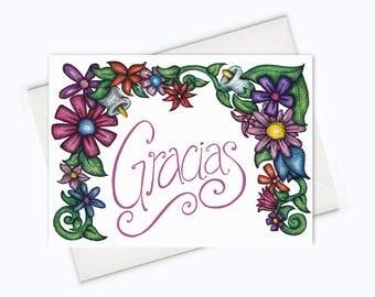 GRACIAS CARD - Spanish Thank You Card - Gracias Spanish Card - Thank You En Español