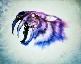 Sabretooth Tiger Painting | Sabretooth Tiger Skull | Steampunk Skull | Tiger Print | Tiger Painting | Surreal Tiger Art | Gothic Print