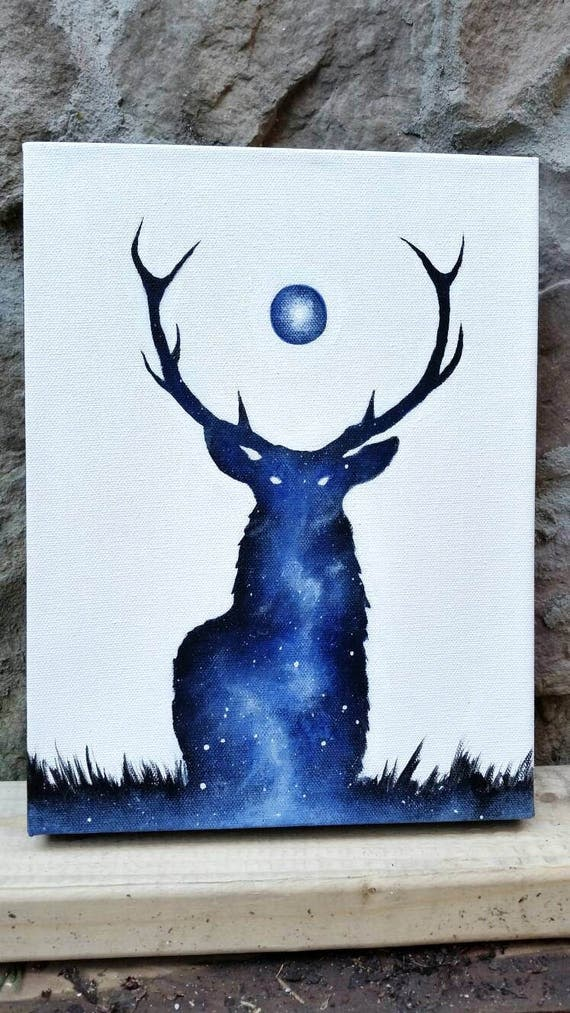 Deer painting double exposure deer galaxy canvas painting for Ideas for acrylic painting projects