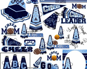 Cheerleading Locker Decorations. Cheerleader clipart MANY SCHOOL COLORS Navy Blue make your own party favors locker  decorations invite cheer Varsity Etsy
