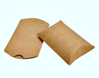 25 Brown Kraft Pillow Boxes 2 x 3/4 x 3 Inches, Usable Space 2 x 2 1/2 Inches, Wedding Boxes for Favors, Kraft Party favors Containers