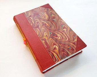 art journal, book, re-purposed book, watercolour paper, red, gold, mixed media book, vintage, vintage book, marbled