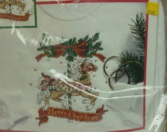 Counted Cross Stitch Holiday Carrisol Ready To Stitch on Large Sweatshirt, Instructions and Supplies Included