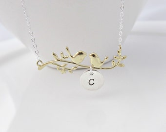 Bird Necklace, Bird Initial Necklace, Bird on a Branch Necklace, Bridesmaid Gifts, Gift for Girls, UK Seller, BFF Gift, Bird Jewellery