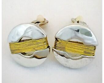 Modernist Silver and gold Tone Earrings, Retro Earrings