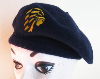 "Navy Blue Wool Beret - Philadelphia Mass Transit Hat -  Philadelphia Warriors Basketball - 21"" with a little stretch"