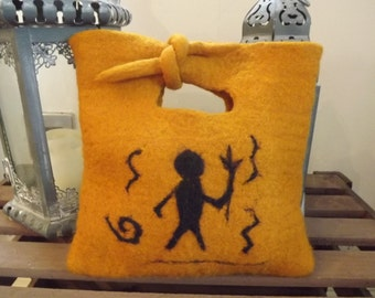 Hand Felted Handbag inspired by Ancient Rock Carving in the USA