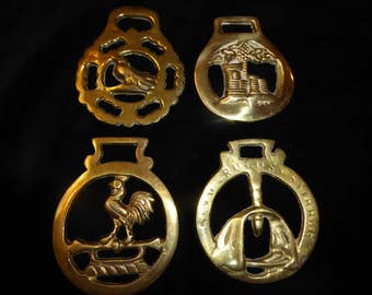 Four Vintage Horse Brass  Medallions Made in England  Lot K