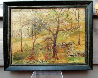 Vintage 1954 Naive Folk Art Painting Cherry Trees in Bloom Signed Framed