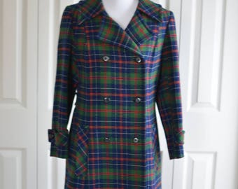 Woman's Vintage 1970's Pendleton Plaid Doublebreasted Coat/Green/Blue/Red