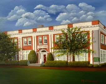 "Landmark Building,  Simsbury, CT.   Framed Original Oil Painting  14""x18"""