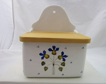 VTG Recipe Box Card File Holder Ceramic and Wood Made in Italy Boston Warehouse