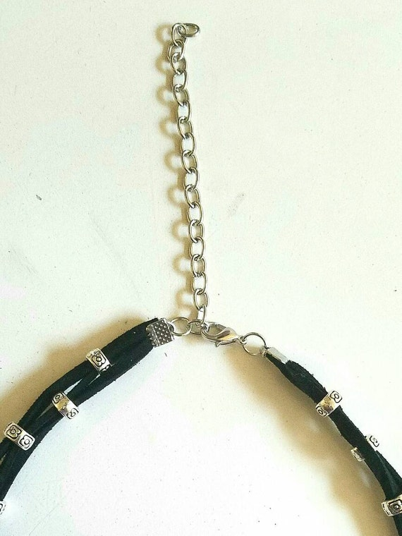 Faux Suede Bead Clamp Choker
