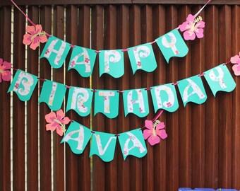 Polynesian Hawaiian Moana birthday banner