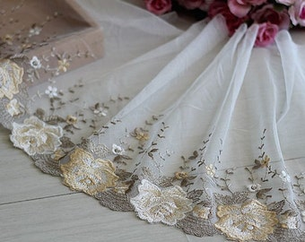 delicate cream embroidery lace trim 2 yards