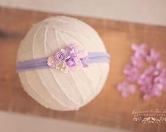 Newborn Baby Headband, Ophelia Headband, Lilac Newborn Headband, Lavender Baby Headband, Lilac Lavender Floral Headband, Purple Headband