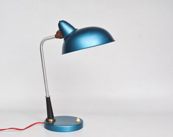 Vintage Table Lamp / Industrial Work Lamp / 50's  Desk Lamp  / Kaiser Idell / Bauhaus Style / Metallic Blue