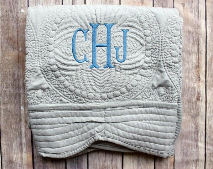 Monogrammed Boy's Quilt, Grey Boy's Quilt, Baby Boy Quilt, Baby Blanket, Baby Shower Gift, New Baby Gift, Christening Gift, Grey Quilt, Baby