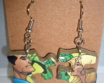 X-Men Comic Book Recycled Puzzle Dangle Earrings