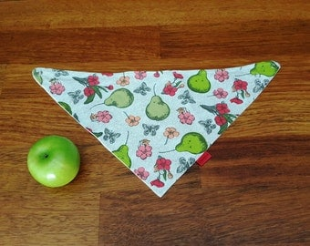 Bandana scarf bib - green and pink baby shower gift - green pears - pink flowers cotton baby bib - baby dribble scarf - baby christmas gift