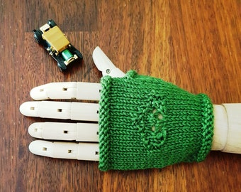 Handmade gloves - fingerless gloves - Women's green - handknit wool gloves - handmade gloves - women's gloves