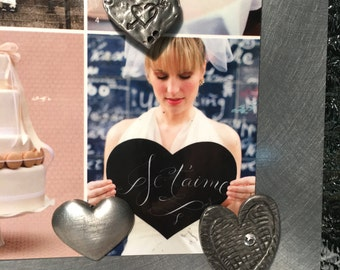 SPECIAL LIMITED EDITION Valentine Magnetic Pewter Heart Trio Magnet Kit-Love Marriage Wedding Celebration Engagement Gift Set -Rhinestone