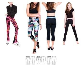 Jalie 3674 Isabelle Leggings & Skating Pants Sewing Pattern for Women Girls in 3 Views