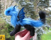 dragon posable doll blue black wings fantasy pet miniature faux fur handmade by Jerseydays
