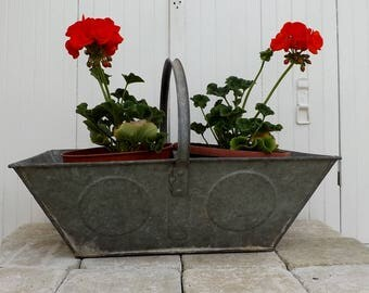 Galvanized French vintage garden trug zinc vegetable basket gardening basket authentic pannier de vendange industrial decor metal basket